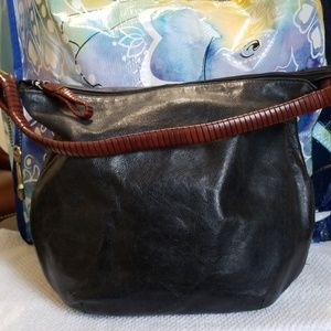 Fossil satchel black trim in brown leather